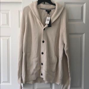 Beige men's button up sweater